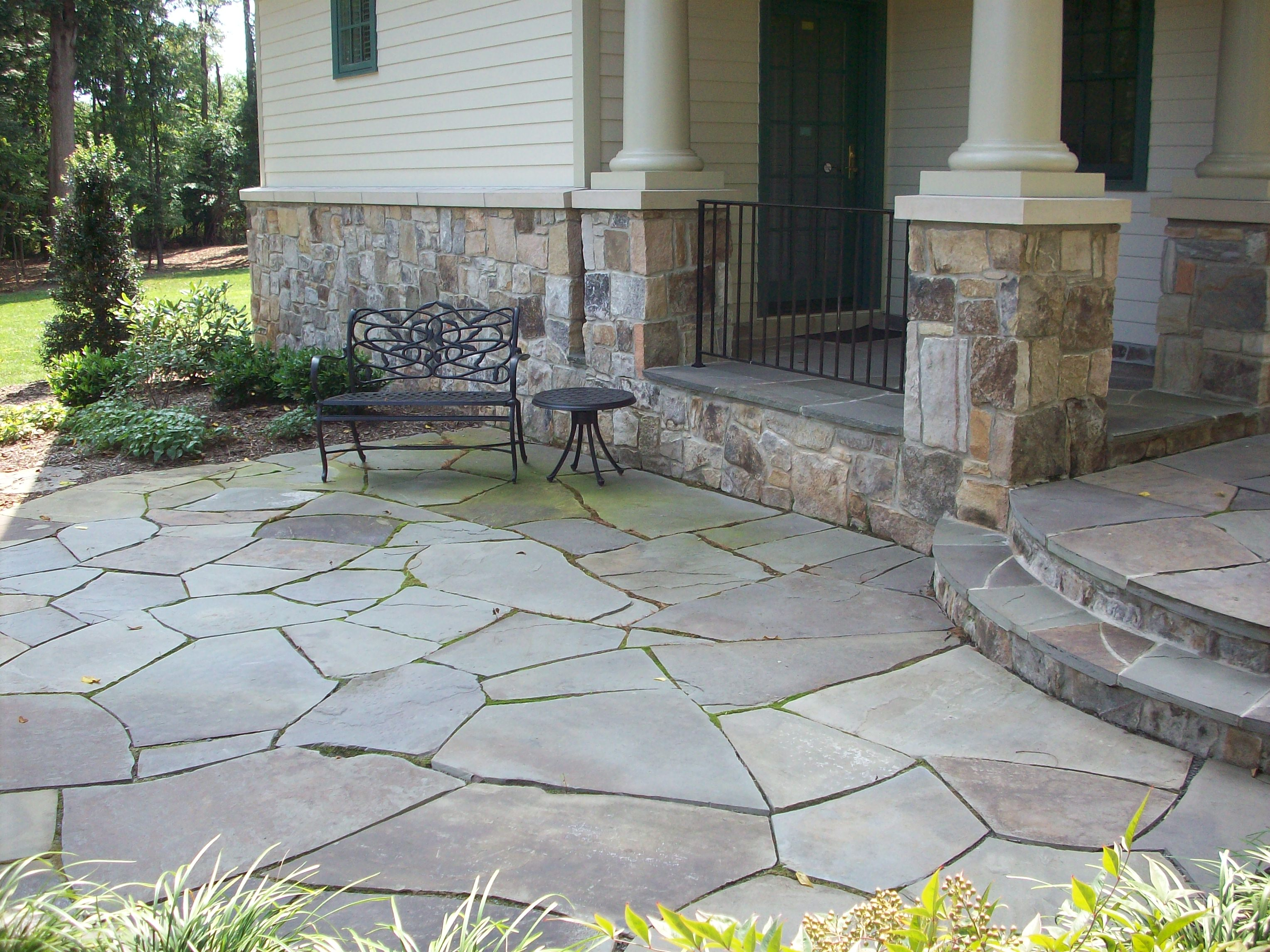 Flagstone Patio With Stone : Main street landscape design patios