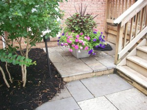 Flagstone patio and step