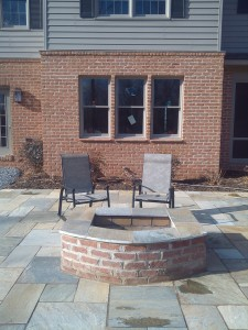 Fire pit, flagstone patio