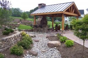 Pavilion, fireplace