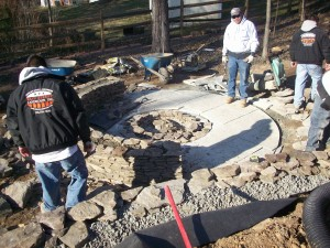 Falls church fire pit installation