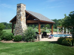 Master plan with pool, patio, deck, pavilion, pergola, fireplace