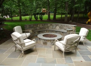Patio, couch wall and fire pit in Oakton, VA